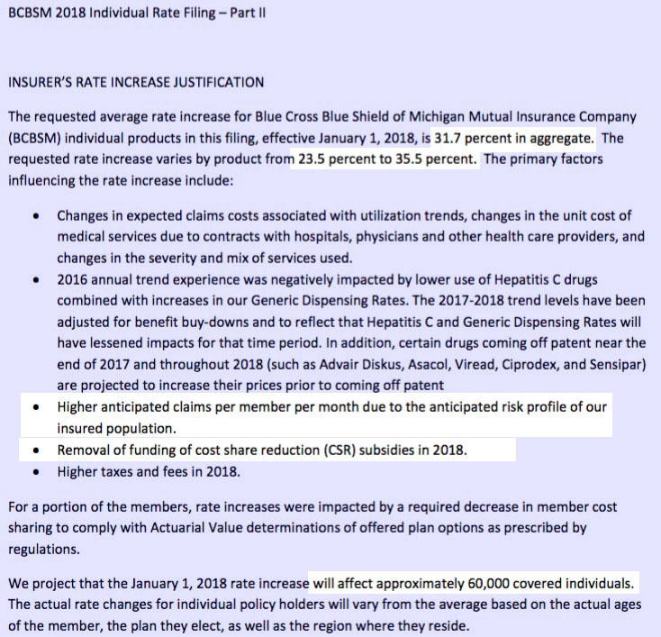 2018 Rate Hikes: Michigan (early look)   ACA Signups