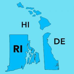 Delaware, Hawaii, Rhode Island